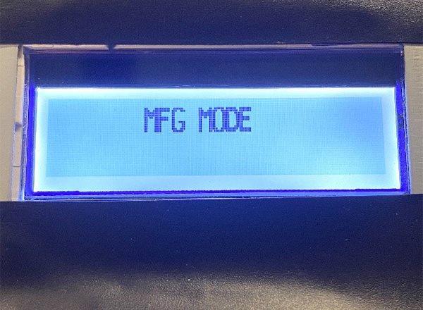 MFG MODE Screen