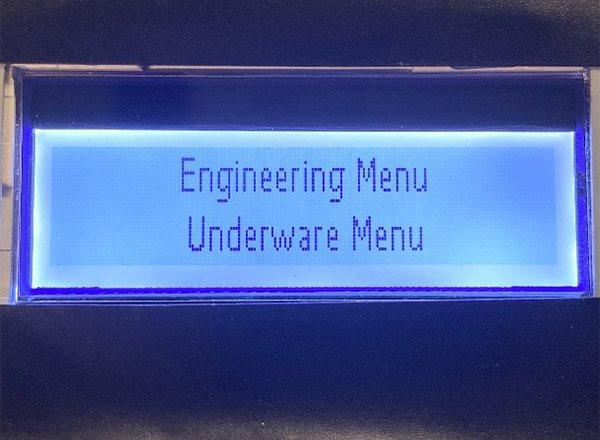 Engineering Menu Screen